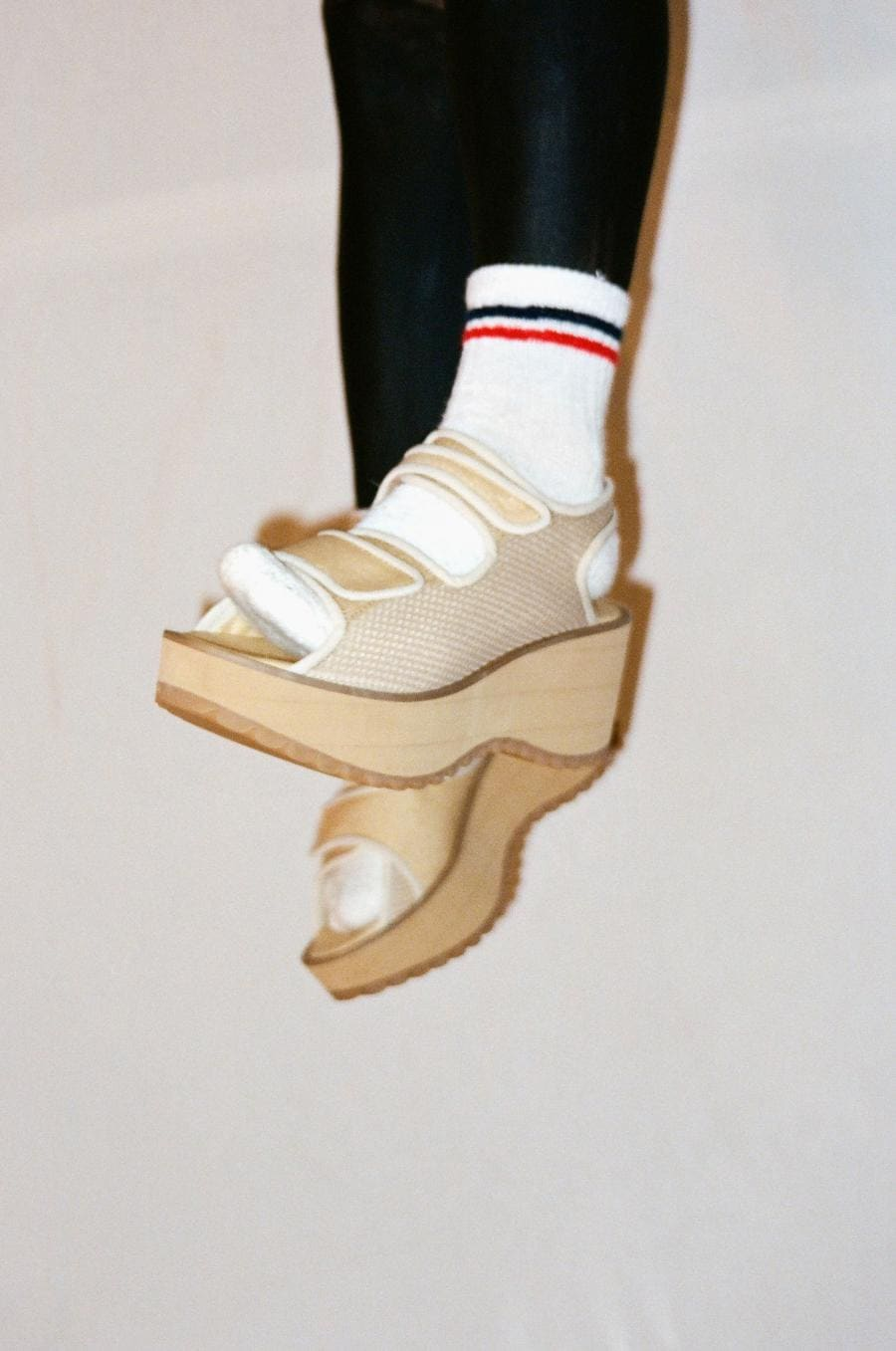 experimental footwear Collection with architectural waste wood
